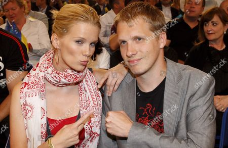 German Comedian Oliver Pocher and Girlfriend Model Monica Ivancan at Ringside During the Iso Cruiserweight World Championship Bout Between Us Boxer Johnathon Banks and Italian Vincenzo Rossitto at the Colorline Arena in Hamburg Germany 12 July 2008 Later Tonight Ibf and Wbo Heavyweight World Champion Vladimir Klitschko Will Defend His Title Germany Hamburg