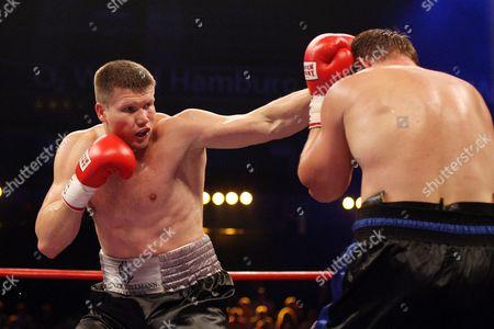 Ukraine's Heavyweight Boxers Alexander Dimitrenko (l)áand Yaroslav Zavorotny (r) During Their Ebu Title Fight in Hamburg Germany 31 July 2010 Germany Hamburg