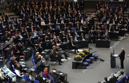 The Last Gdr Prime Minister Lothar De Maiziere Delivers a Speech to German Bundestag During a Ceremony in Berlin Germany 18 March 2010 German Bundestag Commemorated the 20th Anniversary of the First and Only Free Elections in the Gdr Held on 18 March 1990 Germany Berlin