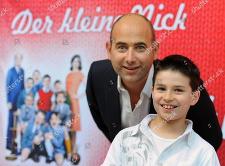 French Director Laurent Tirard (l) and Teen Actor Maxime Godart Pose For a Picture at the German Premiere of the Film 'Le Petit Nicolas' (little Nicholas) at the Frencháembassy in Berlin Germany 20 August 2010 the Film's German Theatrical Release Coincides with the Premiere Germany Berlin