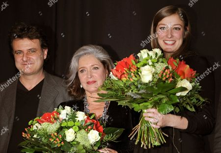 A Picture Dated 01 December 2010 Shows French Director Bruno Chiche (l-r) French Actress Francoise Fabian and German Actress Alexandra Maria Lara with Flowers on Stage During the Premiere of Their Movie 'Small World' at the Cinema Paris in Berlin Germany Germany Berlin