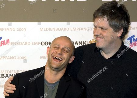German Actor Juergen Vogel (l) and Director Matthias Glasner ('this is Love') Smile During the Reception of the Media Board of the German State of Berlin-brandenburg in Berlin's Hotel Ritz Carlton As Part of the 59th Berlin International Film Festival 07 February 2009 the Berlinale Runs Until 15 February Germany Berlin