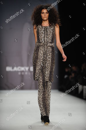 Stock Picture of Austrian Model Alisar Ailabouni Presents a Creation at the Blacky Dress Show During the Mercedes-benz Fashion Week in Berlin Germany 21 January 2011 the Presentation of the Fall-winter 2011 Collections Takes Place From 19 to 22 January Germany Berlin