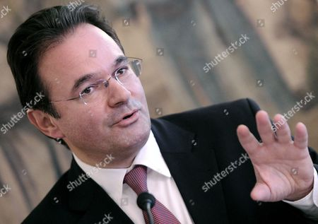 Greek Finance Minister Giorgos Papakonstantinou Speaks to Journalists in Frankfurt Germany 16 September 2010 He Informed About Progress on the Reforms of the Highly Indebted Eu Country Germany Frankfurt/main