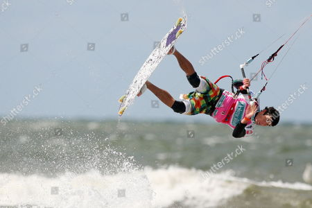Spanish Kite Surfer Alex Pastor Competes in the Freestyle Event of the Kitesurf World Cup 2010 on 24 July 2010 in St Peter Ording Germany Germany St. Peter Ording