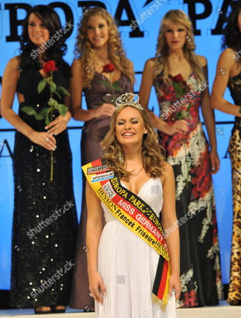 Anne Julia Hagen (front) From Berlin Reacts at Winning the Miss Germany 2010 Contest at the European Park in Rust Germany 13 February 2010 the 19 Year-old Student From Berlin Won Against 21 Other Competitors From All Over Germany in the Miss Germany 2010 Beauty Contest Germany Rust