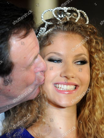 A Picture Made Available on 05 June Shows Argentinia's Jennifer Scherman Receive a Kiss From Director Roland Mack After She was Crowned Miss World Cup 2010 in the Europa Park in Rust Germany 04 June 2010 Germany Rust