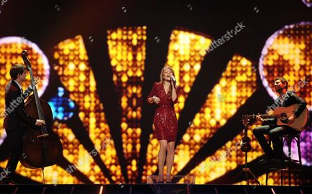 Anna Rossinelli (c) Representing Switzerland Performs on Stage During the First Rehearsal For the Semi-final of the Eurovision Song Contest in Duesseldorf Germany 01 May 2011 out of 43 Countries 25 Will Qualify For the Final Show on 14 May Germany Duesseldorf