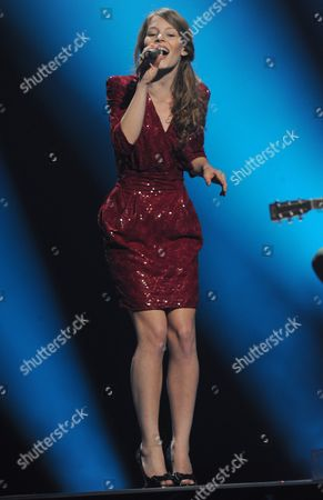 Anna Rossinelli Representing Switzerland Performs on Stage During the First Rehearsal For the Semi-final of the Eurovision Song Contest in Duesseldorf Germany 01 May 2011 out of 43 Countries 25 Will Qualify For the Final Show on 14 May Germany Duesseldorf