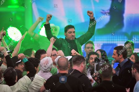 Finalist of the Tv Show 'Germany Searches For the Superstar' Iranian-german Mehrzad Marashi (c) Celebrates His Victory in the Final of the Show in Cologne Germany Late 17 April 2010 Marashi Won with the Spetator's Vote Germany K÷ln