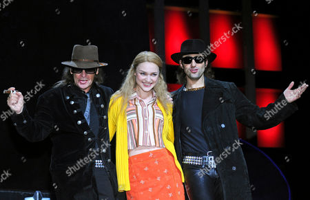 (l-r) German Musician Udo Lindenberg German Actress Josephin Busch Playing the Role of Jessy Girl From East Berlin and German Actor Serkan Kaya As Udo Pose During a Photocall For the New Musical 'Hinterm Horizont' (beyond the Horizon) in Berlin Germany 12 January 2011 the Musical with Hits of Udo Londenberg Will Premiere at the Theatre on Potsdamer Platz on 13 January 2011 Germany Berlin