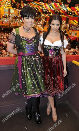 Stock Image of Us Socialite and Television Personality Kim Kardashian West and Her Mother Kris Kardashian (l) Pose For a Photograph at the Oktoberfest in Munich Germany 22 September 2010 This Year the Largest Folk Festival in the World Celebrates Its 200 Year Anniversary About Six Million Visitors Are Expected to Join the Festival Until the End of the So-called 'Wiesn' Germany Munich