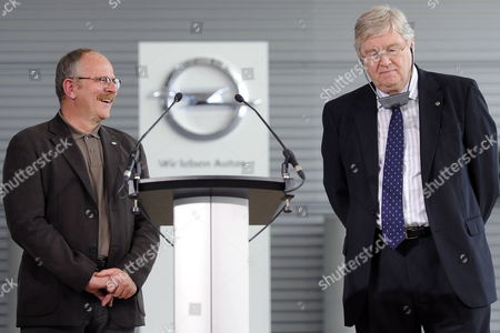Nick Reilly (r) Ceo of Carmaker Opel and the Company's Works Council Chairman Klaus Franz Give a Press Conference at the Opel Plant in Ruesselsheim Germany 21 May 2010 Reilly and Franz Announced Details of the Restructuring Plan For the Ailing General Motors Subsidiary Germany Ruesselsheim