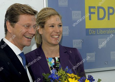 The Frontrunner of Germany's Liberals (fdp) For the Eu Parliament Elections Silvana Koch-mehrin (r) is Congratulated by the Party's Chairman Guido Westerwelle at the Beginning of a Chair Meeting in Berlin Germany 08 June 2009 the Fdp Reached Eleven Percent of Votes in the Elections Held the Previous Day Germany Berlin