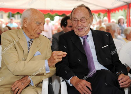 Former German President Walter Scheel (l) and Former German Foreign Minister Hans-dietrich Genscher (r) Chat During a Citizens Reception on the Occasion of Scheel's 92nd Birthday in Bad Krozingen Germany 09 July 2011 Around 500 People Celebrated with the Former President á Germany Bad Krozingen