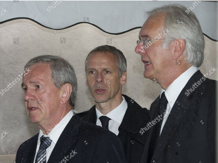 Stock Picture of Tv Presenters Fritz Egner (l-r) Fred Kogel and Harald Schmidt Arrive at the Funeral of Media Entrepreneur Leo Kirch at the St Michael Church in Munich Germany 22 July 2011 Kirch Died on 14 July 2011 at the Age of 84 Germany Munich