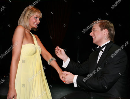 Jonathan Ansell and Debbie King get engaged on stage at the London Palladium.