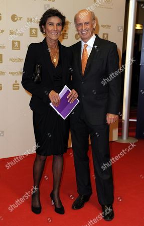 German Skiing Legend and Fashion Designer Willy Bogner (r) and His Wife Sonja Bogner Arrive For the 'Sportsman of the Year' Gala in Baden Baden Germany 20 December 2009 Germany Baden-baden