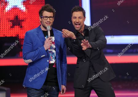 Presenters Marco Schreyl (r) and Daniel Hartwich on Stage During One of the Semifinals of the German Television Rtl-castingshow 'Das Supertalent' (the Supertalent) in Cologne Germany on 15 December 2010 the Final Takes Place on 18 December 2010 Germany Cologne