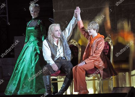 A Picture Made Available on 03 August 2011 Shows German Actors Teresa Weissbach (l-r) Goetz Schubert As August the Strong and Oscar Hoppe As Electoral Prince Performing During the Rehearsal of the Play 'Die Maetresse Des Koenigs' ('the King's Mistress') at Zwinger Palace in Dresden Germany 02 August 2011 the Dresden Zwinger Festival Will Take Place From 05 to 21 August 2011 Germany Dresden