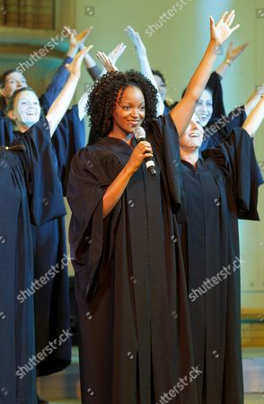 Zodwa Selele (c) Playing the Role of 'Deloris' Sings Two Songs of the Musical Sister Act During the Presentation of the Ensemble in Hamburg Germany 13 October 2010 the Musical Produced by the Hollywood Star Whoopi Goldberg Will Premiere at the Tui Opera House in Hamburg Germany on 02 December 2010 Germany Hamburg