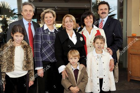 Director of 'Europa-park' Juergen Mack (back L-r) His Wife Maurizia Ukranian First Lady Kateryna Yushchenko Marianne Mack Director of 'Europa-park' Roland Mack and the Children Christina (front L-r) Taras and Sophia Yushchenko Pose at the Theme Park in Rust Germany 05 October 2008 the Foundation Had Invited 30 Children From Difficult Social Backgrounds Some of Them Children Affected by One of the Mining Accidents in Ukraine Germany Rust