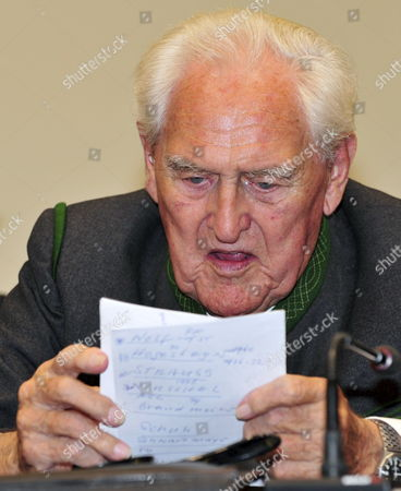 Stock Picture of Defendant Josef Scheungraber is in the Dock As His Verdict is Scheduled to Be Proclaimed in Munich Germany 11 August 2009 Scheungraber 90-years-old and Former Company Commander of Mountain Infrantry Battalion 818 During Wwii is Charged with Multiple Murder in June 1944 He Allegedly Commanded to Kill 14 Italian Civilians in Italy's Tuscany Region in a Retaliatory Strike For Two German Soldiers Killed During a Partisan Ambush the Verdict on Scheungraber Expected For 11 August is Postponed the Court Proceeded to Take Evidence Again Germany Munich