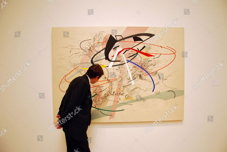 A Picture Made Available on 26 September 2010 Shows a Man Looking at the Painting Untitled 1 (2001) by Us Artist Julie Mehretu at Sotheby's in New York City New York Usa 23 September 2010 the Artwork Had Been Estimated at About 700 000 Us Dollars (about 520 000 Euros) and was Sold For 1 022 500 Us Dollars at an Auction of Works From the Neuberger Berman and Lehman Brothers Corporate Art Collections at Sotheby's New York on 25 September 2010 United States New York