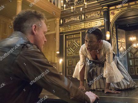 Stock Image of Jamie Ballard as Brachiano, Mercy Ojelade as Isabella,