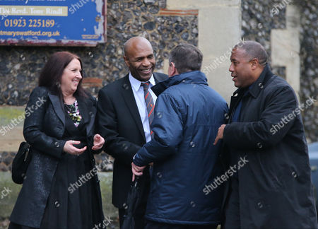 Luther Blissett and John Barnes at the funeral service of Graham Taylor former Watford and England manager at St. Marys Church, Watford