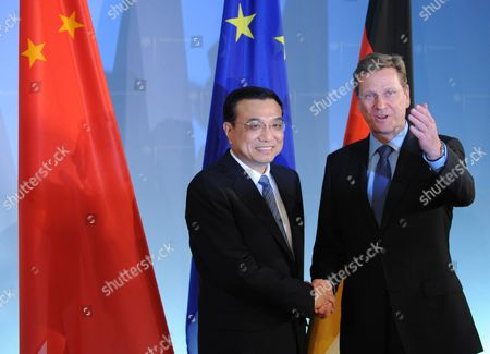 Chinese Vice Prime Minister Li Kequiang with German Foreign Minister Guido Westerwelle at the Foreign Offive in Berlin Germany 07 January 2011 Report State That During the Visit of the Chinese Vice Prime Minister Li Keqiang Contracts For Co-operation Between Chinese and German Economy Were Signed Deputy Premier Li Kequiang is on a Visit to Europe Which Includes Spain Germany and Britain Germany Berlin