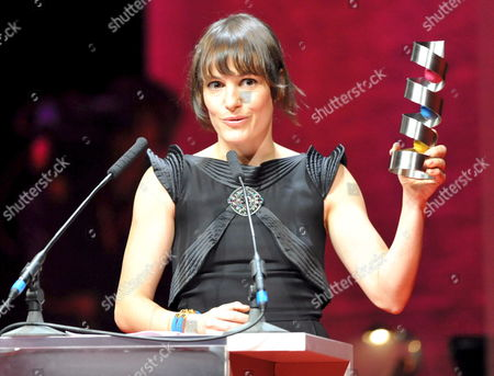 German Actress and Producer Nicolette Krebitz Gives Thanks For Her Development Award at the 19th Hessian Film and Cinema Awards Ceremony at the Concert Hall and Former Opera House Alte Oper (old Opera) in Frankfurt Am Main Germany 17 October 2008 Germany Frankfurt Am Main
