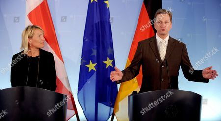 Stock Image of German Foreign Minister Guido Westerwelle (r) and His Danish Ministerial Colleague Lene Espersen Announce Conclusions of Their Previous Meeting at a Press Conference in Berlin Germany 15 June 2011 Issues Concerning Planned Border Controls at German-danish Border Areas Were at the Core of Their Meeting Germany Berlin