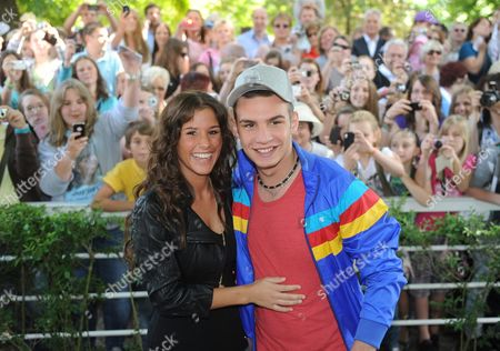Stock Picture of The Finalists of the Rtlácasting Show 'Germany Searches For the Superstar (dsds) ' Pietro Lombardi and Sarah Engels Visit the Galopprennbahn Horse Racing Course on the First Day of the Spring Meeting on the Race Track in Iffezheim ágermany 28 May 2011 Germany Iffezheim