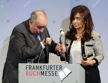 Gottfried Honnefelder (l) President of the German Publishers & Booksellers Association and Argentine President Christina Fernandez De Kirchner (r)áopen the Book Fair in Frankfurt Main Germany 05 October 2010 the Fair For Printed and Digital Books Takes Place From 06 October Until 10 October 2010 with Argentina As Guest of Honour and Features More Than 7 000 Exhibitors From 113 Countries Germany Frankfurt Main