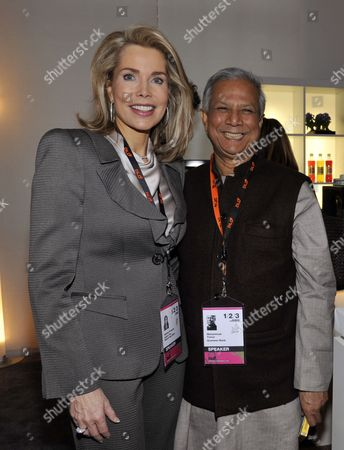 Begum Gabriele Inaara Aga Khan and Nobel Peace Prize Laureate Muhammad Yunus Smile at the Innovation Fair Digital-life-design (dld) in Munich Germany 26 January 2010 Dld 2010 Takes Place From 24 to 26 January 2010 Germany Munich