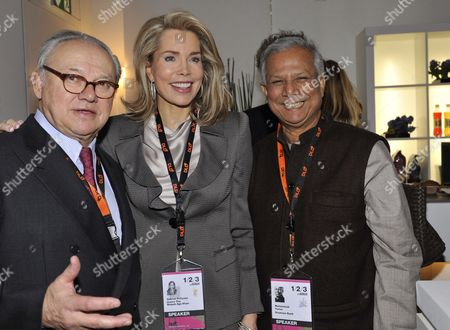 Hubert Burda (l-r) Organiser and Publisher Begum Gabriele Inaara Aga Khan and Nobel Peace Prize Laureate Muhammad Yunus Pose at the Innovation Fair Digital-life-design (dld) in Munich Germany 26 January 2010 Dld 2010 Takes Place From 24 to 26 January 2010 Germany Munich