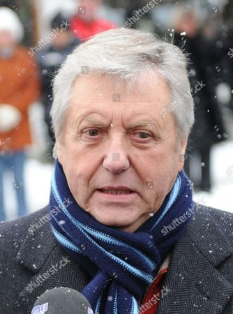 Stock Picture of Austrian Tv Host Karl Moik Gives an Interview Prior to the Funeral Service of Folk Musician Maria Hellwig at the Church St Pankratius in Reit Im Winkel Germany 01 December 2010 the Yodeler Died in the Night of 27 November 2010 at the Age of 90 Germany Reit Im Winkel
