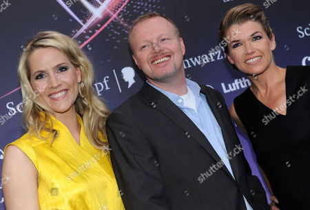 Judith Rakers (l) Stefan Raab and Anke Engelke German Hosts of Eurovision Song Contest 2011 Pose During a Press Conference of the Eurovision Song Contest in Duesseldorf Germany 09 May 2011 the Final of the 56th Eurovision Song Contest Takes Place on 14 May 2011 Germany Duesseldorf