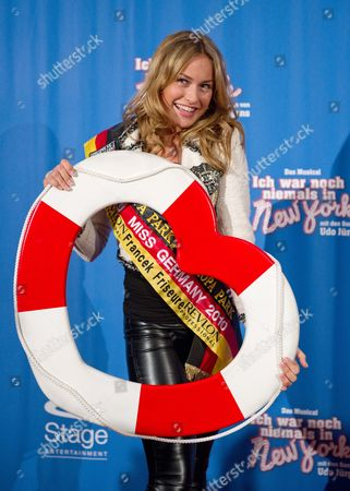 Miss Germany Anne Julia Hagen Arrives For the Premiere of the Musical 'Ich War Noch Niemals in New York' (lit : i Have Never Been to New York) at the Apollo Theater in Stuttgart Germany 18 November 2010 W Germany Stuttgart