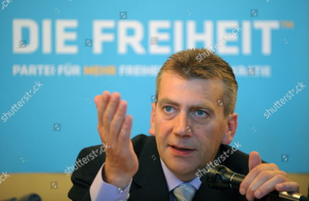 Stock Picture of Founder of the Party 'Freedom' Rene Stadtkewitz Talks During a Press Conference in Berlin Germany 10 September 2010 the Former Cdu-member Wishes to Come Up For Elections For the State Parliament of Berlin (abgeordnetenhaus Berlin) in Autumn 2011 Germany Berlin
