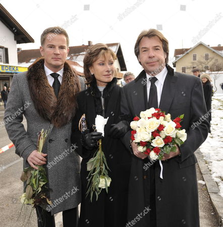 (l-r) German Businessman Felix Raslag German Tv Presenter Antje-kathrin Kuehnemann and German Singer Patrick Lindner Attend the Burial of Presenter Petra Schuermann at the Cemetery in Aufkirchen Germany 19 January 2010 Schuermann Died at Age 74 on 14 January 2010 Germany Aufkirchen