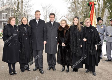 Children of Deceased Regina Von Habsburg Andrea (l-r) Monika Karl Georg Michaela Gabriela and Walburga Von Habsburg Meet For Their Mother's Requiem in the Parish Church St Pius in Poecking Near Starnberg Lake Germany 09 February 2010 Regina Von Habsburg Died on 03 February 2010 As the Wife of Heir Apparent Otto She Would Have Become Empress of Austria and Queen of Hungary if the Monarchy Had not Collapsed in 1918 Germany Poecking