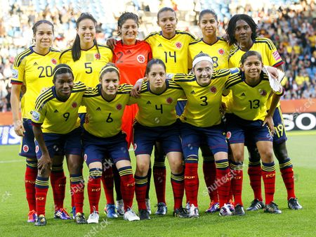 The Starting Line-up of Colombia Poses For the Group C Match North Korea Against Colombia of Fifa Women's World Cup Soccer Tournament at the World Cup Stadium in Bochum Germany 06 July 2011 (back Row L-r) Orianica Velasquez Nataly Arias Sandra Sepulveda Kelis Peduzine Katerin Castro Fatima Montano (front Row L-r) Carmen Rodallega Daniela Montoya Diana Ospina Natalia Gaitan and Yulieht Dominguez Germany Bochum