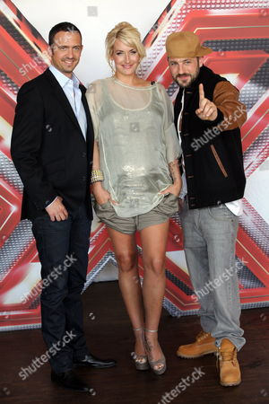 The Jury Members of the Talent Show 'X Factor' German Trumpeter Till Broenner (l-r) German Pop Star Sarah Connor and German Rapper Das Bo Pose For Photographers During a Press Presentation by the Commercial Broadcaster Vox in Hamburg Germany 24 June 2011 the New Season Begins on 30 August 2011 on Vox Germany Hamburg