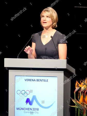 The Paralympic Biathlete Verena Bentele Speaks During the Presentation of Munich at the 123rd Ioc Session in Durban South Africa 06 July 2011 the International Olympic Committee (ioc) Decide Votes on the Host of the Winter Games 2018 Munich Competes with the South Korean City Pyeongchang and the French City Annecy South Africa Durban
