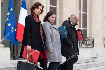 (From L) French Culture Minister Audrey Azoulay, French Housing Minister Emmanuelle Cosse and French Defence Minister Jean-Yves Le Drian