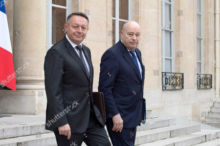 French Junior Minister for Sports Thierry Braillard (L) and French Minister for Town and Country Planning, Rural Affairs and Local Authorities Jean-Michel Baylet