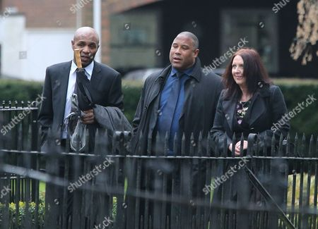 Luther Blissett and John Barnes arrive at funeral service of Graham Taylor former Watford and England manager at St. Marys Church, Watford