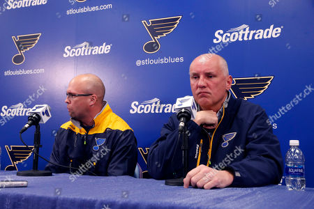 Doug Armstrong, Mike Yeo St. Louis Blues general manager Doug Armstrong, right, listens during a news conference naming Mike Yeo as the Blues' new head coach, in St. Louis. Yeo replaces Ken Hitchcock who was fired by the team